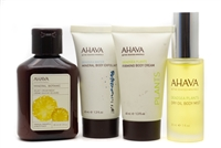 AHAVA Active Deadsea Mineral Set; Mineral Botanic Velevet Cream Wash  3 fl oz, Body Exfoliator  1.3 fl oz, Firming Body Cream 1.3 fl oz, Dry Oil Body Mist  1 fl oz