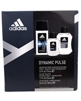 adidas DYNAMIC PULSE Set: Deodorant Body Fragrance Natural Spray 2.5 fl oz, Eau De Toilette Natural Spray  1.7 fl oz,  After-Shave 3.4 fl oz.