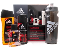 Adidas Team Force Gift Set with free Water Bottle; 3 In 1 Hair Body and Face Shower Gel  8.4 fl oz, Eau de Toilette Spray  1.7 fl oz, Deo Body Spray 4oz