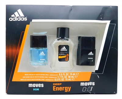 adidas Eau De Toilette Natural Spray Set: Moves Him .5 Fl Oz., Deep Energy 1.7 Fl Oz., Moves 0:01 .5 Fl Oz.