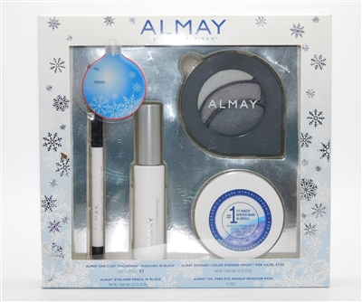 Almay Hazel Eyes Gift Set: One coat thickening Mascara in black, I-Color Evening Smoky for Hazel Eyes, Eyeliner Pencil in Black & Makeup Remover Pads