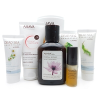 AHAVA Set: Chamomile Mud Mask, Anti-Aging Moisturizer, Anti-Aging Moisturizer, Aloe Vera Body Lotion, Tea Tree Oil Foot Cream, Velvet Cream wash, Night Treatment