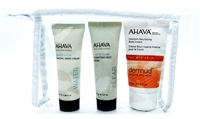 AHAVA Set: Deadsea Water Mineral Hand Cream .68 Fl Oz., Time To Clear Purifying Mud Mask .9 Oz., Intensive Nourishing Body Cream 1.3 Fl Oz.