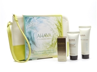 AHAVA Skincare Essentials Set: Dead Sea Osmoter Concentrate  .17,  Essential Day Moisturizer  .51 fl oz, Mineral Hand Cream  .68 fl oz, and Storage Bag