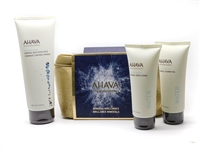 AHAVA Mineral Brilliance Set: Mineral Body Exfoliator 6.8 fl oz, Mineral Body Lotion  3.4 fl oz, Mineral Shower Gel 3.4 fl oz, Carrying Case