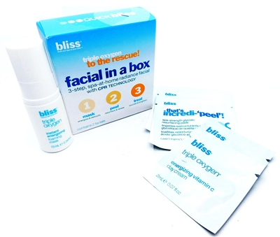 Bliss Facial in a Box: Triple Oxygen Instant Energizing Foaming Mask .3 Fl Oz., That's Incredi-peel! Spa-Strength Glycolic Resurfacing Pads 2 pads, Triple Oxygen Energizing Vitamin C Day Cream 2x .07 Fl Oz.