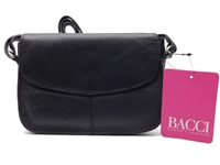 Bacci Genuine Leather Small Cross-Body Bag, Black