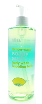 bliss Lemon+Sage Soapy Suds Body Wash+Bubbling Bath 16 Fl Oz.
