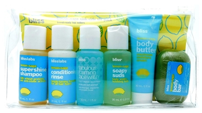 bliss Lemon+Sage Sink-Side Six Pack: Supershine Shampoo 1 Fl Oz., Conditioning Rinse 1 Fl Oz., Fabulous Foaming Face Wash 1 Fl Oz., Soapy Suds Body Wash 1 Fl Oz., Body Butter 1 Fl Oz., Body Bar 1.8 Oz.