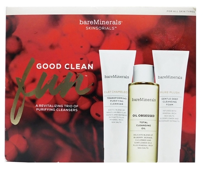 bareMinerals Good Clean Fun: Pure Plush Cleansing Foam 1.7 Oz., Clay Chameleon Purifying Cleanser 1.7 Oz., Oil Obsessed Cleansing Oil 3.3 Fl Oz., Skinlongevity Vital Power Infusion .25 Fl Oz.