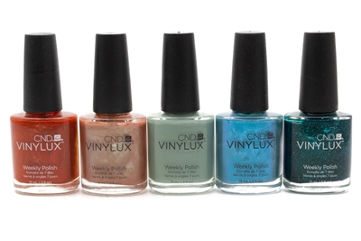 ​CND Vinylux Weekly Polish set of 5; Fine Vermillion, Sienna Scribble, Sage Scarf, Lost Labyrinth, Emerald Lights (each .5 fl oz)