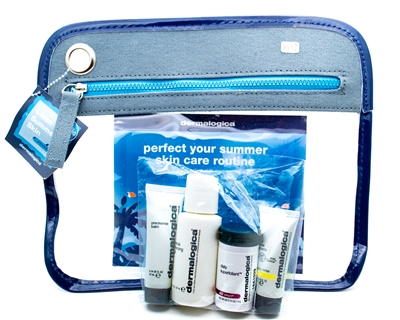 Dermologica Summer Skin Kit: TSA Approved for Travelling.  Precleanse Balm .34 fl oz, Cleansing Gel  1 fl oz, Superfoliant .14oz, Oil Free Suncreen .24 fl oz, Travel Bag