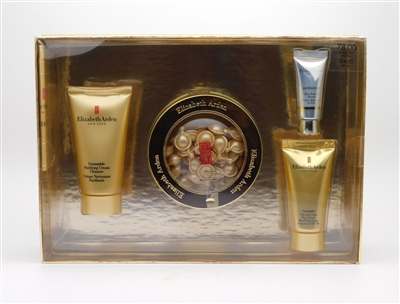 Elizabeth Arden CERAMIDE set: Daily Youth Restoring Serrum Capsules 60Ct, Lift & Firm Day Cream SPF 30 1 Oz, Purifying Cream Cleanser 1.7 Oz, & Superstart Skin Renewal Booster 1.7 Oz
