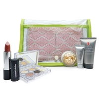 Elizabeth Arden Clear Bag Set: Lipstick Teaberry Shimmer .14 Oz., Eyeshadow Quad .09 Oz., 3-in-1 Daily Cleanser 1 Fl Oz., Night Cream .25 Fl Oz., Gold Restorative Capsules .11 Fl Oz.