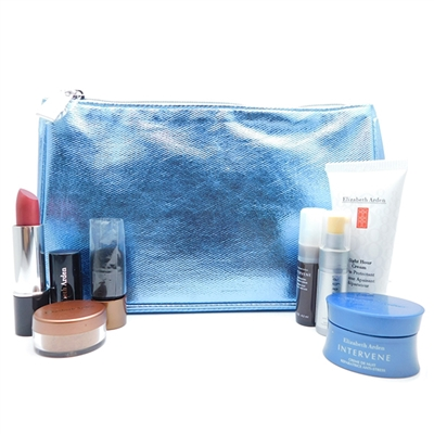 Elizabeth Arden Metallic Blue Bag Set: Skin Protectant 30 mL., Anti-Aging Serum 5 mL., Bronzing Powder Medium .09 Oz., Lipstick Sugarplum Shimmer .14 Oz., Radiance Serum 4.5 mL., Night Cream 7 mL.