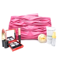 Elizabeth Arden Pink Bag Set: Exceptional Lipstick 25 Starlight .14 Oz., Eyeshadow Quad smoke sparkle moonbeam luna .09 Oz., Ceramide Mascara 01 Black .09 Oz., Ceramide Gold Restorative Capsules .11 Fl Oz., 2-in-1 Cleanser 1 Fl Oz., Day Protection .17 Oz.