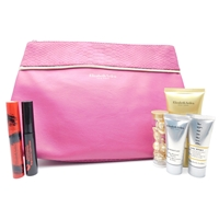 Elizabeth Arden Pink and Gold Bag Set: Mascara Stunning Black .09 Oz., Liquid Lipstick Luscious Raspberry .08 Oz., Day Sunscreen SPF30 .5 Oz., Skin Booster .17 Oz., DNA Enzyme Complex .17 Oz., Restoring Serum .11 Oz.