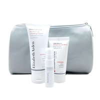 Elizabeth Arden Silver Bag Set: Exfoliating Cleanser 50 mL., Skin Balancing Lotion 30 mL., Optimizing Skin Serum 5 mL.