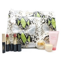 Elizabeth Arden Snake Print Bag Set: Moisture Cream .25 Oz., Gold Restorative Capsules .11 Fl Oz., Mascare Black .09 Oz., 2 Exceptional Lipsticks in Autumn and Blossom each .14 Oz., Pretty Body Lotion 1 Fl Oz.