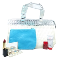 Elizabeth Arden White and Silver Bag Set: Eye Shadow Quad .077 Oz., Lipstick Autumn .14 Oz., Skin Protectant 1 Oz., Red Door Eau De Parfum .16 Fl Oz., Pouch