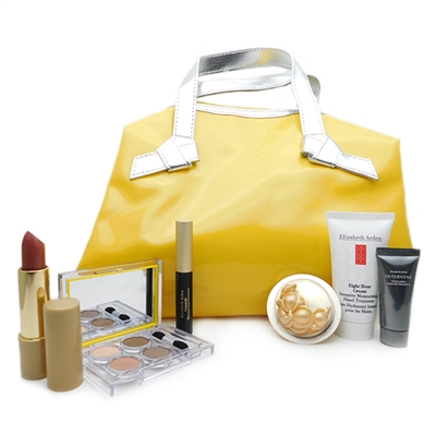 Elizabeth Arden Yellow Bag Set: Eyeshadow Quad .09 Oz., Plump Perfect Lipstick 19 Perfect Rosegold .12 Oz., Lash Extending Mascara Black .09 Oz., Gold Restorative Capsules .11 Fl Oz., Hand Treatment 1 Oz., Intervene Moisture Cream .25 Oz.