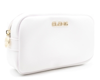 Elemis Cosmetic Bag; White with Purple Pocket Interior