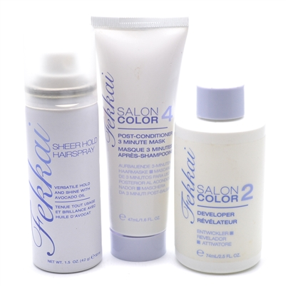 Fekkai Set, New-No Box:  Salon Color 2 Developer 2.5 fl oz,  Salon Color 4  Mask 1.6 fl oz,  Sheer Hold Hairspray 1.5 oz