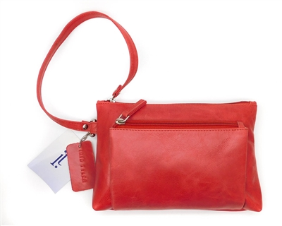 Iris Tyler Genuine Leather, Melissa Wristlet, Red