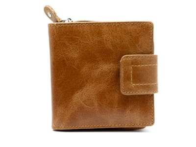Iris Tyler Genuine Leather, Zippered Wallet, Tan