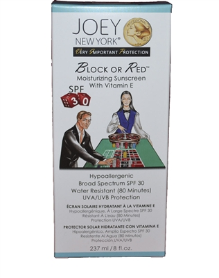 Joey New York VIP Collection Block or Red Moustirizing Sunscreen SPF 30  8 Oz