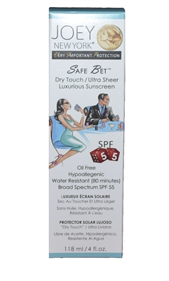 Joey New York VIP Collection Safe Bet Dry Touch Luxurious Suscreen SPF 55 4 Oz