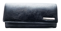 Kenneth Cole Reaction Elongated Clutch Wallet Black snap close