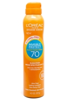 L'Oreal INVISIBLE PROTECT Advanced Suncare SPF70 Alcohol Free Invisible Protect Water Resistant Spray Sunscreen   4.5 fl oz