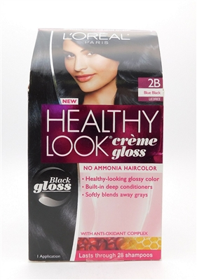 Loreal Paris Healthy Look Creme Gloss 2B Blue Black Licorice 1 Application