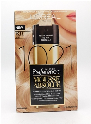 Loreal Paris Superior Preference Mousse Absolue Automatic Reusable Color 1021 Lightest Icy Blonde 3.2 Oz.