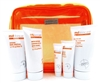 MD Skincare by Dr. Dennis Gross Orange Bag Set: All-In-One Facial Cleanser with Toner 1.7 Fl Oz., Intense Body Moisture 1.7 Fl Oz., Water Resistant Sunscreen SPF30 with Vitamin C 1.7 Fl Oz., Maximum Moisture Treatment .5 Oz., Firming Eye Lift .17 Oz.