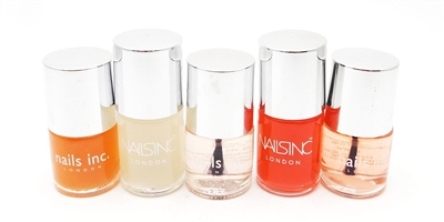 Nails Inc. Nail Polish set of 5: Kensington Basecoat Caviar 6 mL. X 3, Westminster Bridge Matte Topcoat .33 Fl Oz., Caviar Basecoat .33 Fl Oz.