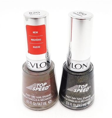 Revlon Top Speed Fast Dry Nail Enamel set of 2: 820 Stormy, 350 Mistletoe (each .5 Fl Oz.)