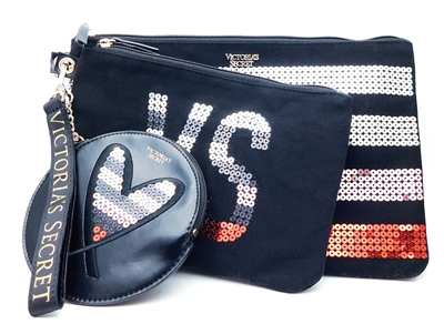 Victoria's Secret 3 Piece Black and Sequin Bags with Zippers