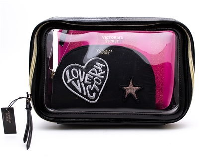 Victoria's Secret 3 Piece Cosmetics Bags, Black & Pink with Zippers