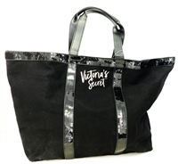 Victoria's Secret Black Canvas and Sequin Large Tote Bag with Zipper