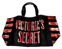 Victoria's Secret Limited Edition Black Canvas and Sequin Large Tote Bag