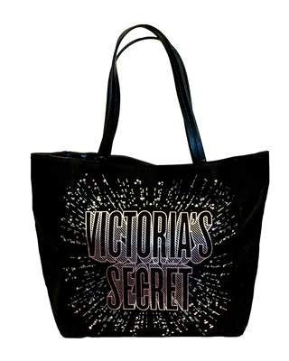Victoria's Secret 2018 Limited Edition Black Logo Love Star Celestial Tote Bag with 2 Inner Pockets and Magnetic Snap Closure