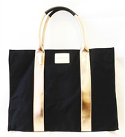 Victoria's Secret Black Canvas Tote Bag with Gold Trim and Snap Button Closure