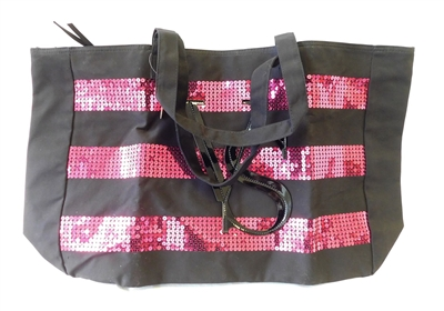 Victoria's Secret Black Canvas Tote Bag with Pink Sequin Stripes and Zipper
