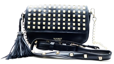 Victoria's Secret Black and Gold Studded Over Shoulder Purse with Snap Closure