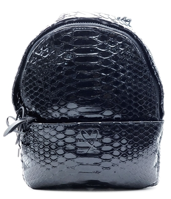 Victoria's Secret Black Luxe Python Mini Backpack with Zippers