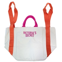 2018 Victoria's Secret Bombshell Large Summer Beach Tote Bag, Canvas with Nylon Interior and Zippered Interior Pouch, Orange Shoulder Straps and Pink Handles