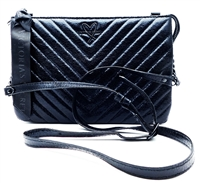Victoria's Secret Black Metallic Quilted Crossbody Purse with Zipper