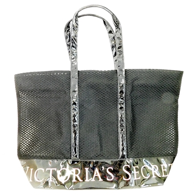 Victoria's Secret Black Mesh and Plastic Tote with Zipper